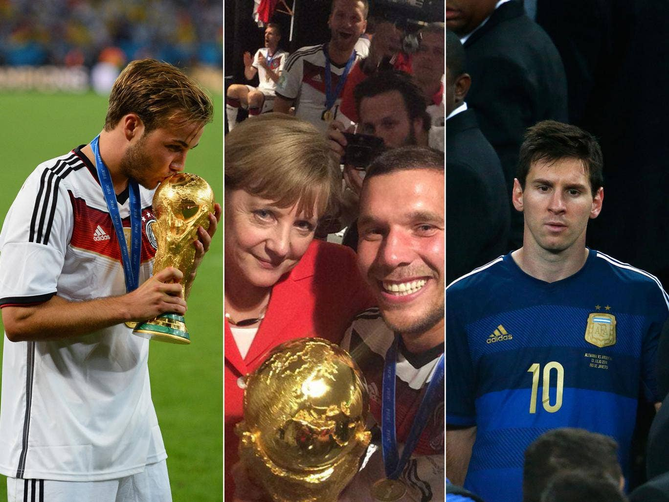 Mario Gotze kisses the World Cup, Angela Merkel poses with Lukas Podolski, and Lionel Messi walks off the stage after Argentina's defeat