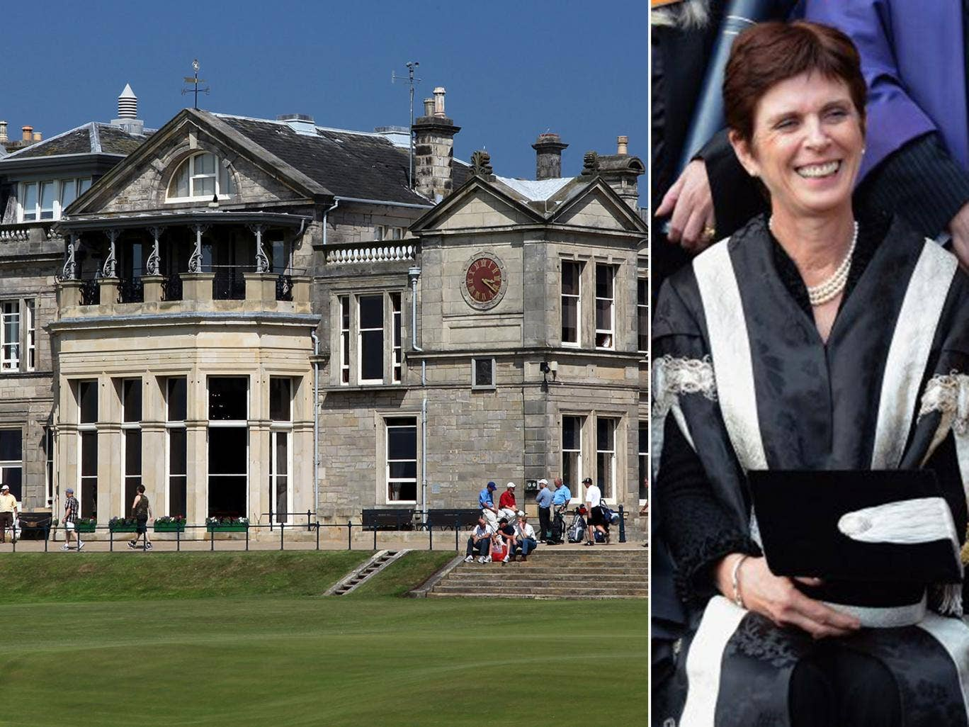 The clubhouse at the Royal and Ancient Golf Club, and St Andrews principal and vice-chancellor Professor Louise Richardson