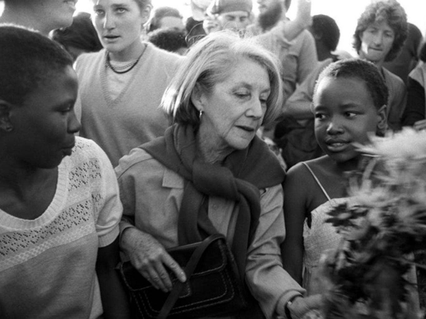Nadine Gordimer visiting the Alexandra township in 1986 to lay wreaths at the graves of victims of political unrest