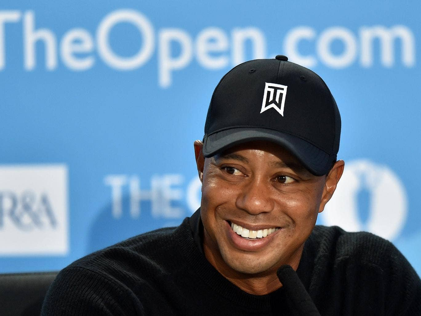 Tiger Woods speaks to the media prior to the start of The Open