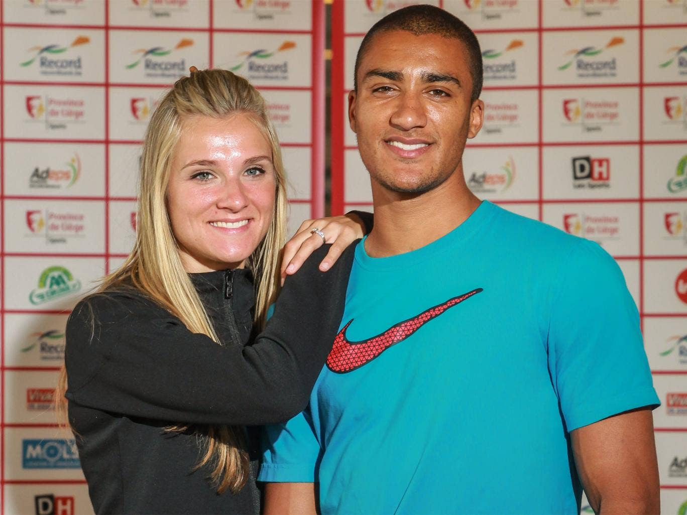 Reigning Olympic decathlon champion Ashton Eaton pictured with his wife Brianne Theisen-Eaton