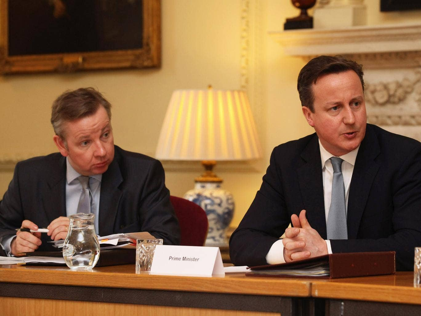 Michael Gove and David Cameron during a meeting on education in 2012