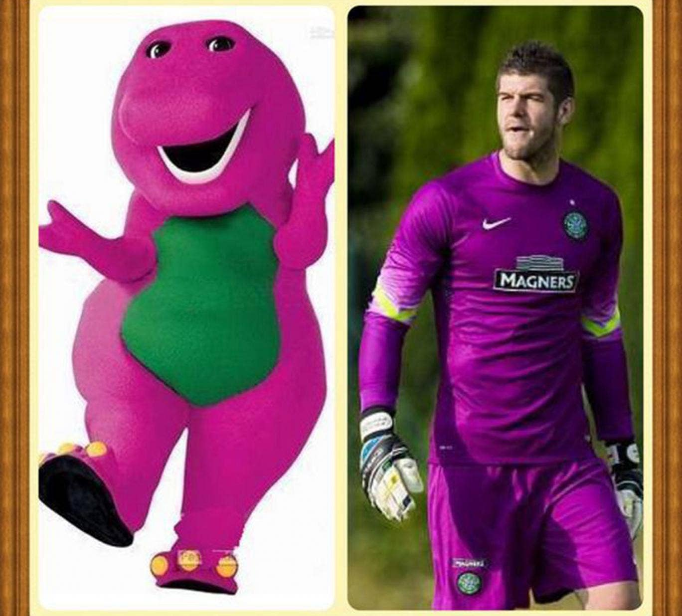Fraser Forster posted a picture of himself and Barney the Dinosaur