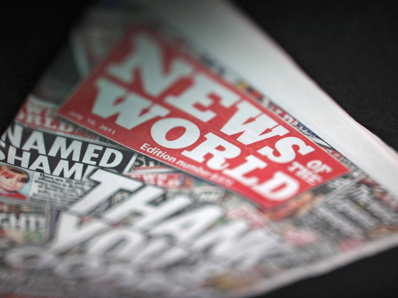The final edition of the News of the World newspaper