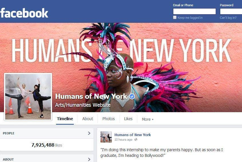The Humans of New York blog has millions of readers