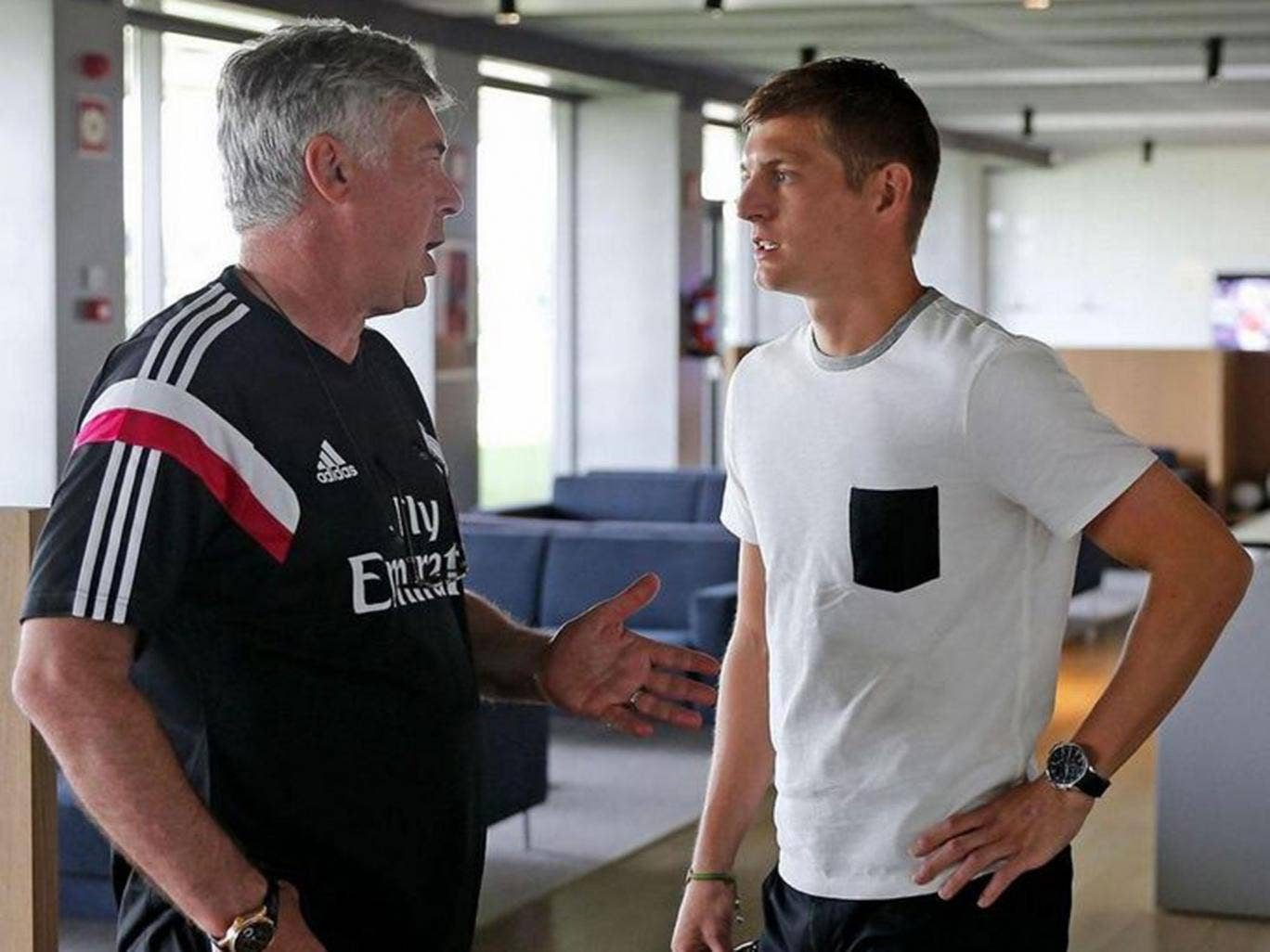 Toni Kroos has completed his move to Real Madrid - speaking to Los Blancos manager Carlo Ancelotti