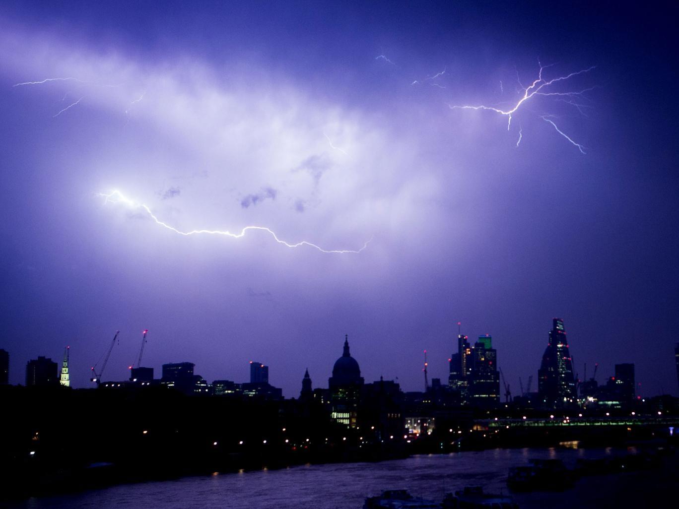 Lightning over central London as major storms kept the city awake overnight