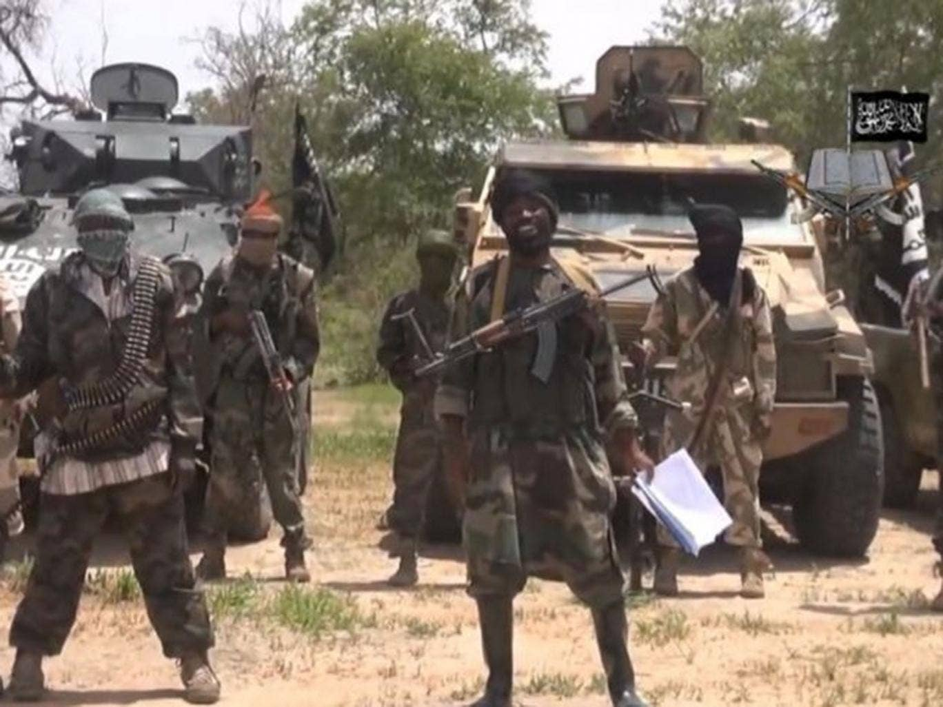 A screengrab taken on July 13, 2014 from a video released by the Nigerian Islamist extremist group Boko Haram, showing the leader of the Nigerian Islamist extremist group Boko Haram, Abubakar Shekau