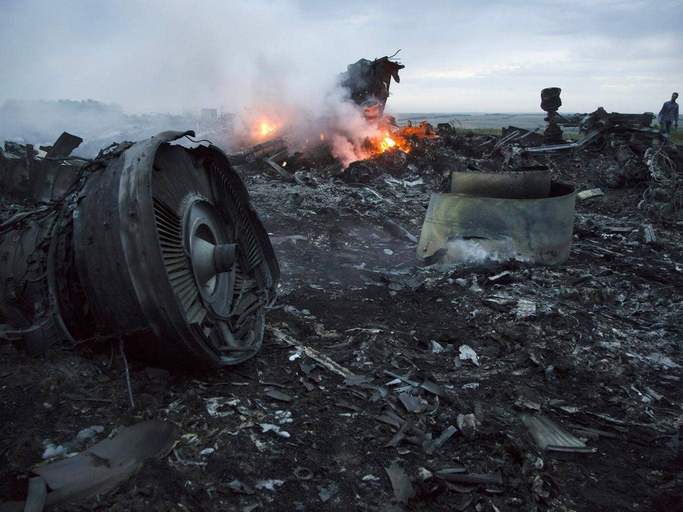 The crash site of the MH17 flight between the two villages of Rozsypne and Hrabove