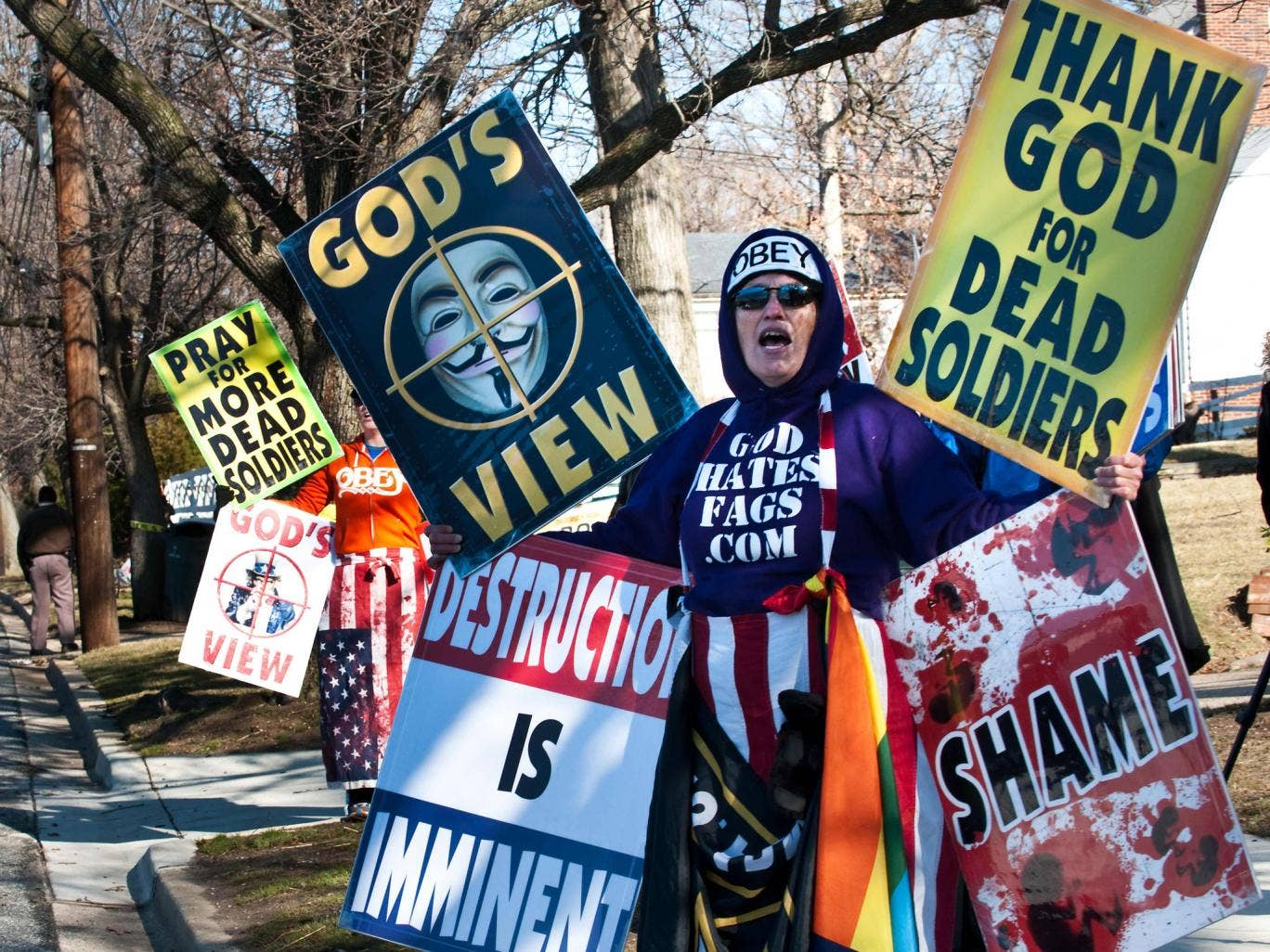 Shirley Phelps-Roper of the Westboro Baptist Church, Kansas, stages a protest across the street from a high school near Washington