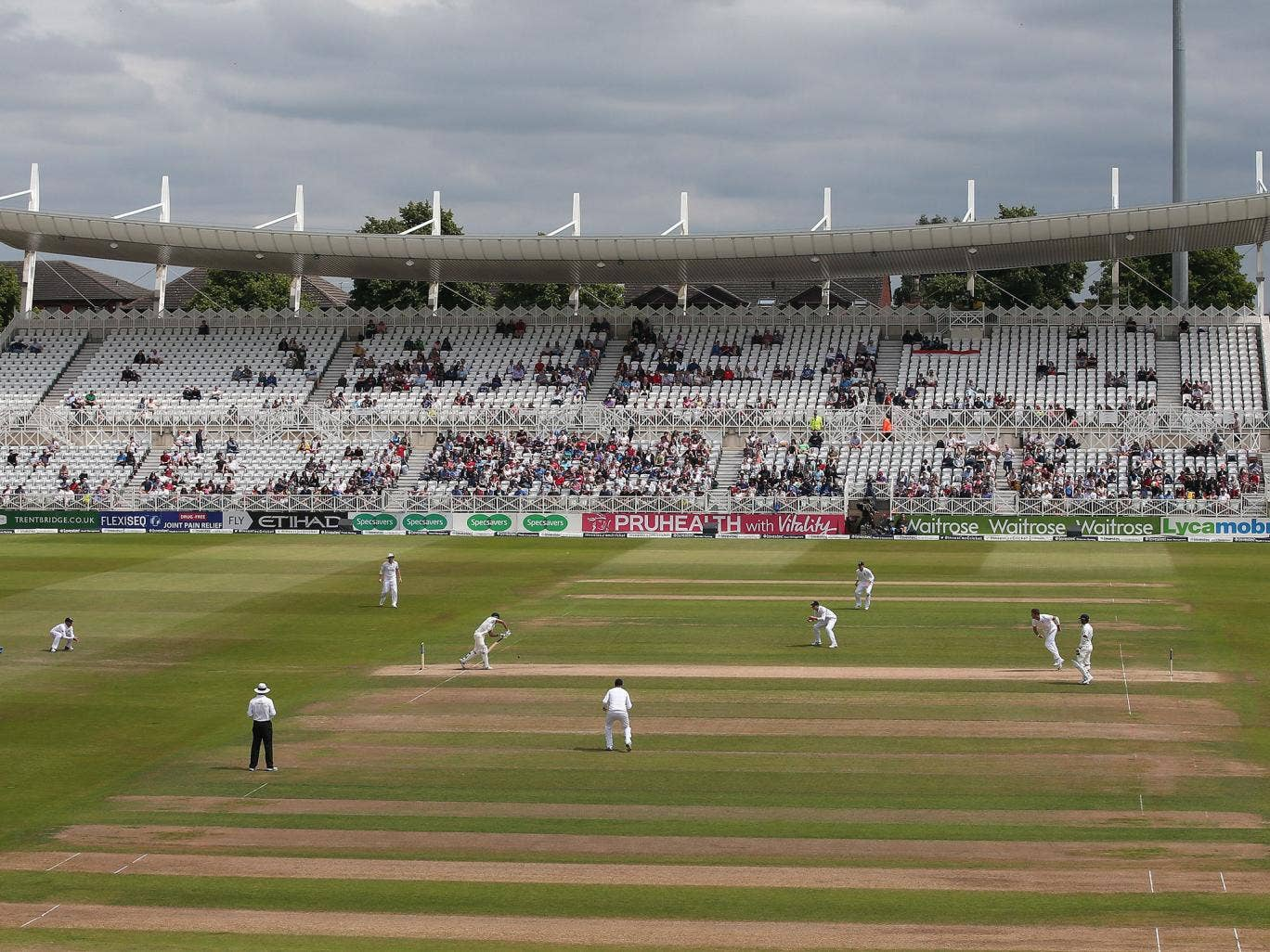 A general view shows the ground on the final day of the first cricket Test match between England and India at Trent Bridge