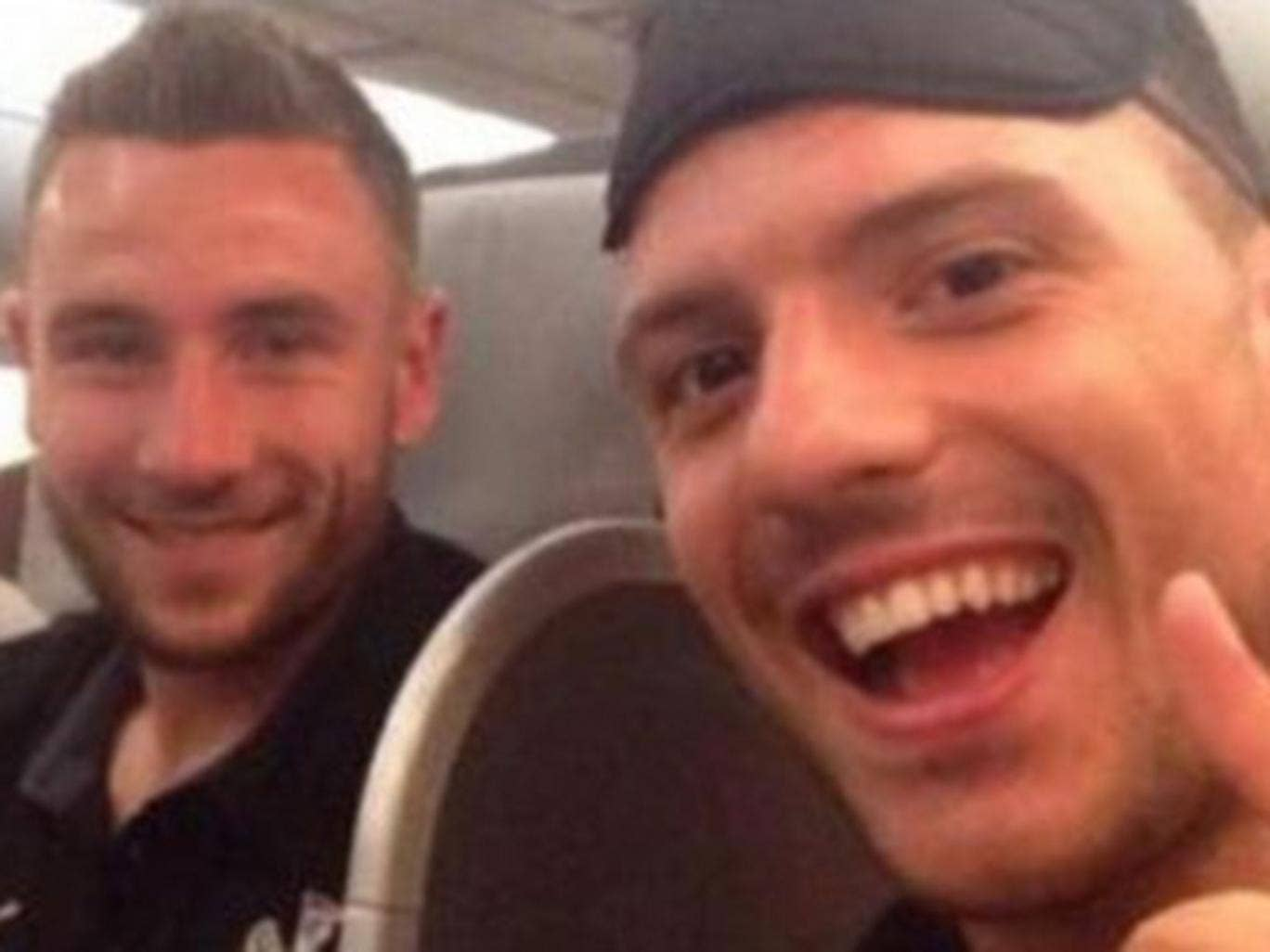 Haris Vukcic apologised for this selfie aboard a plane bound for New Zealand