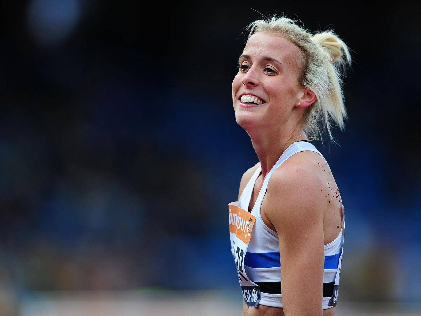Lyndsey Sharp celebrates winning the women's 800m final