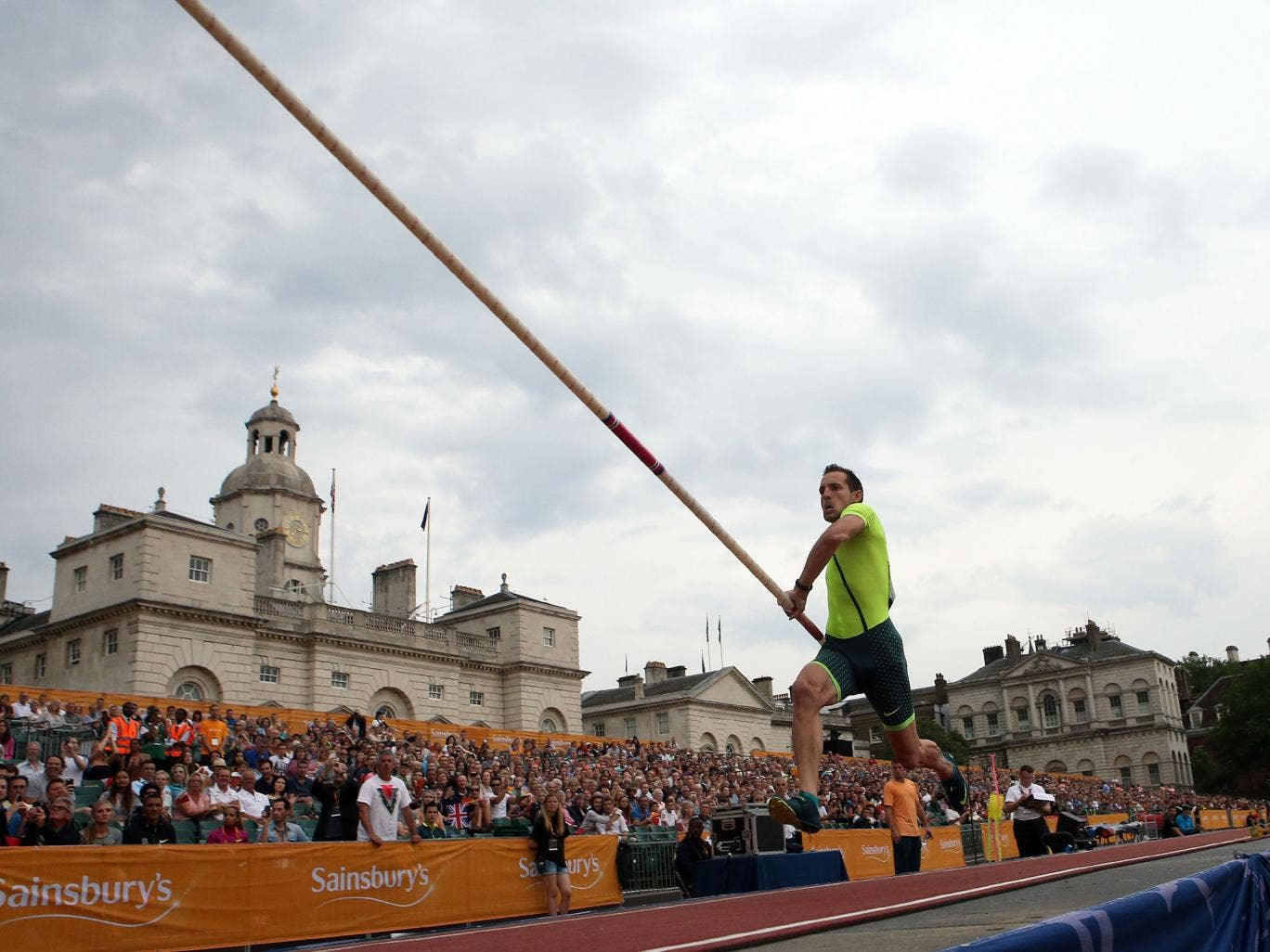 France's Renaud Lavillenie on his way to winning the men's pole vault, during the Anniversary Games at Horse Guards Parade