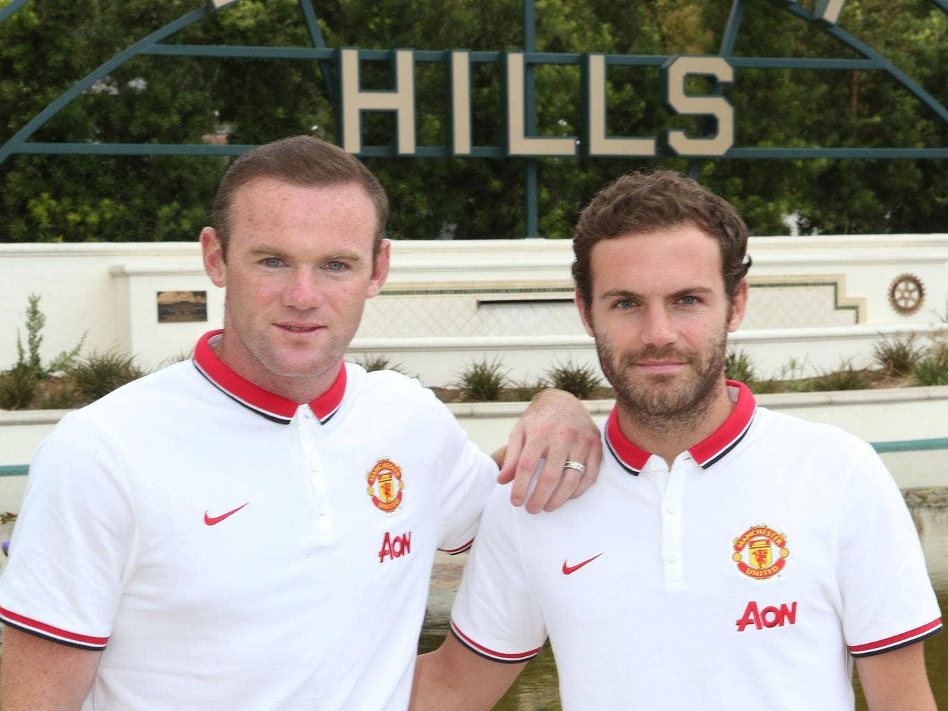 Juan Mata and Wayne Rooney pictured on Manchester United's pre-season tour