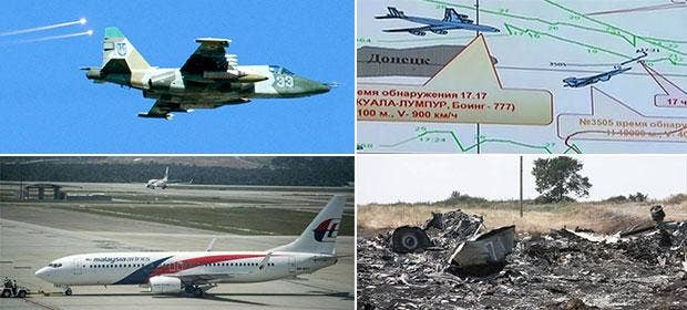 Russia says a Ukraine SU-25 came within 5km of Malaysian Airlines MH17, producing extensive graphics of the flight paths at a Defence Ministry press conference