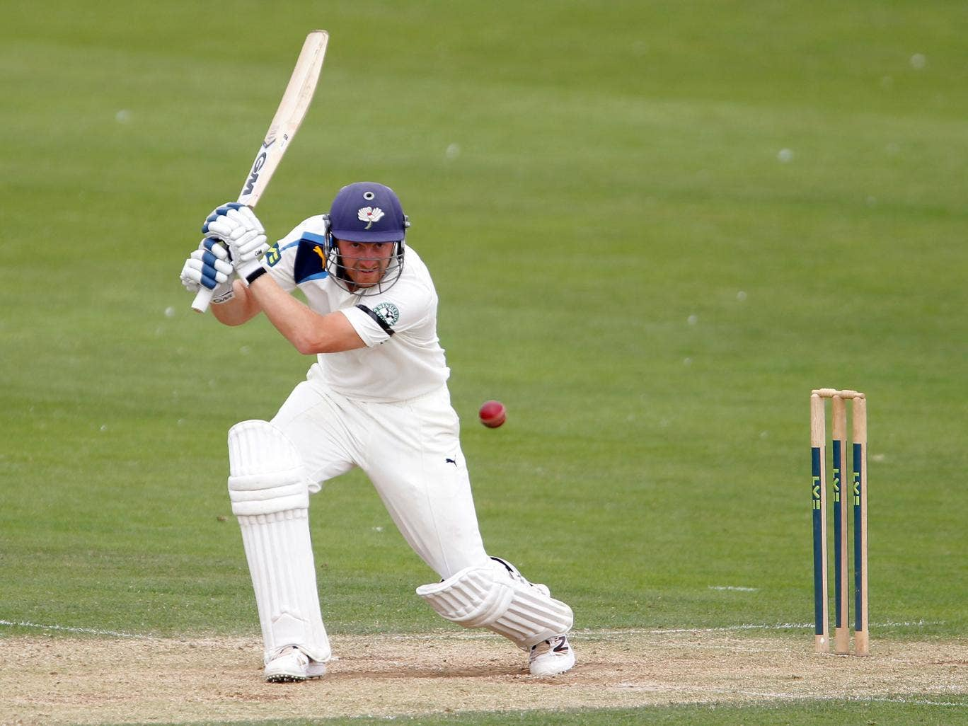 Andrew Gale on his way to completing his century for Yorkshire