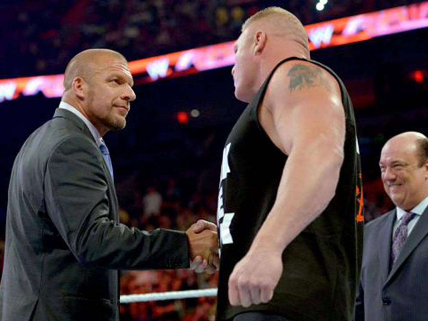 Triple H agrees to name Brock Lesnar as the number one contender to John Cena's WWE World Heavyweight title