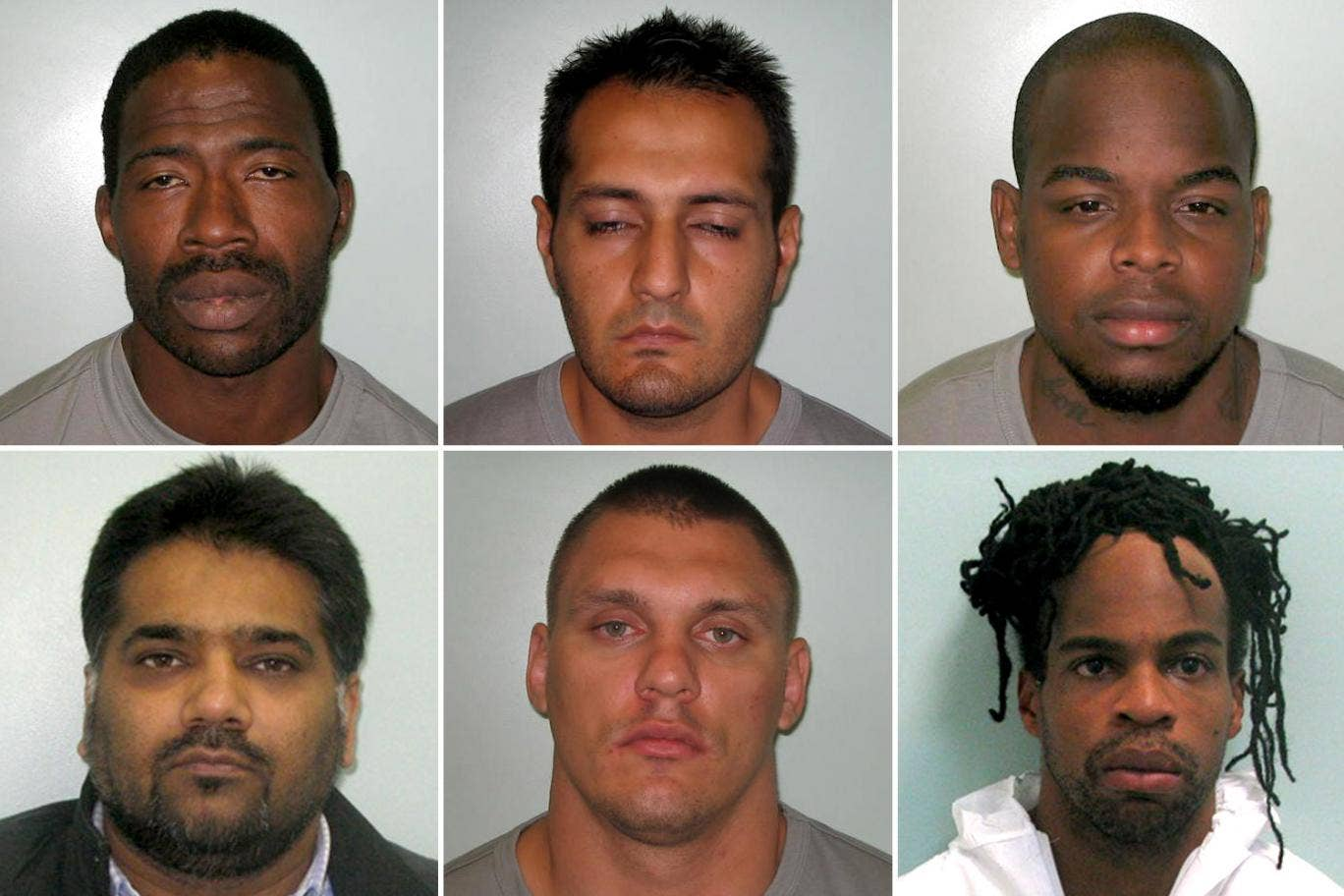 The jailed robbers, top row (l-r): David Sadiku, Aamir Kayani, Michael Carbon; bottom row (l-r): Amarjeet Bharj, Paulius Strasunskas, Francis Carbon