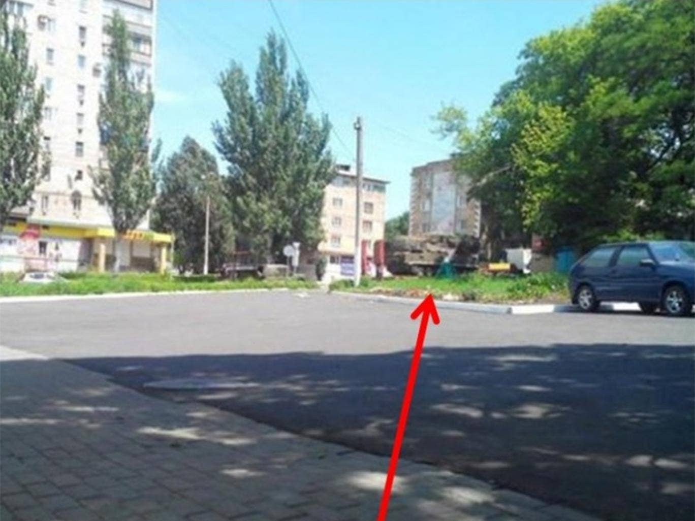 A photograph released by Ukraine's security services claiming to prove that Russian-made BUK-M1 surface-to-air missile systems were inside the rebel-held area near the crash site