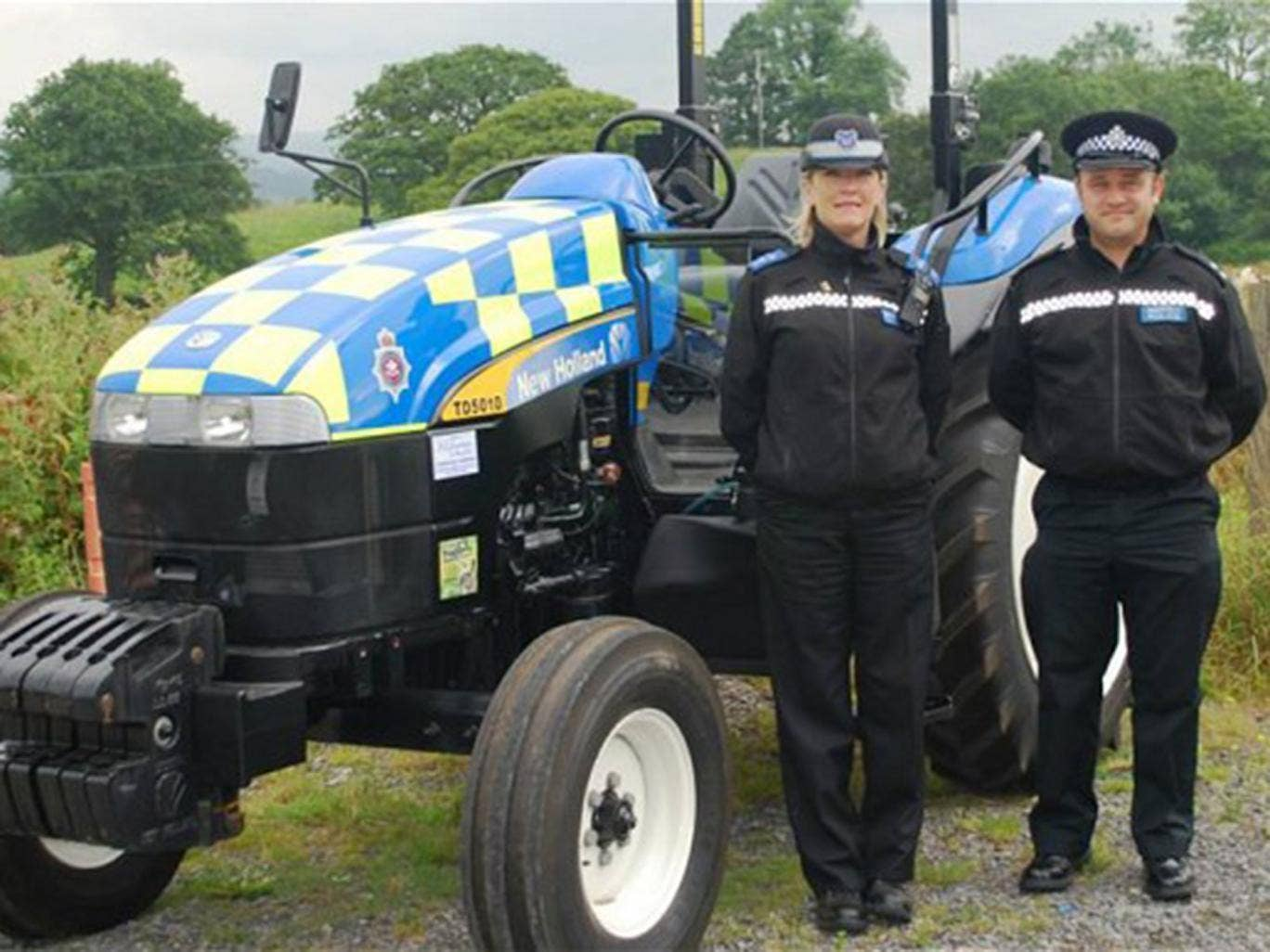 The new police tractor unveiled by Dyfed-Powys Police