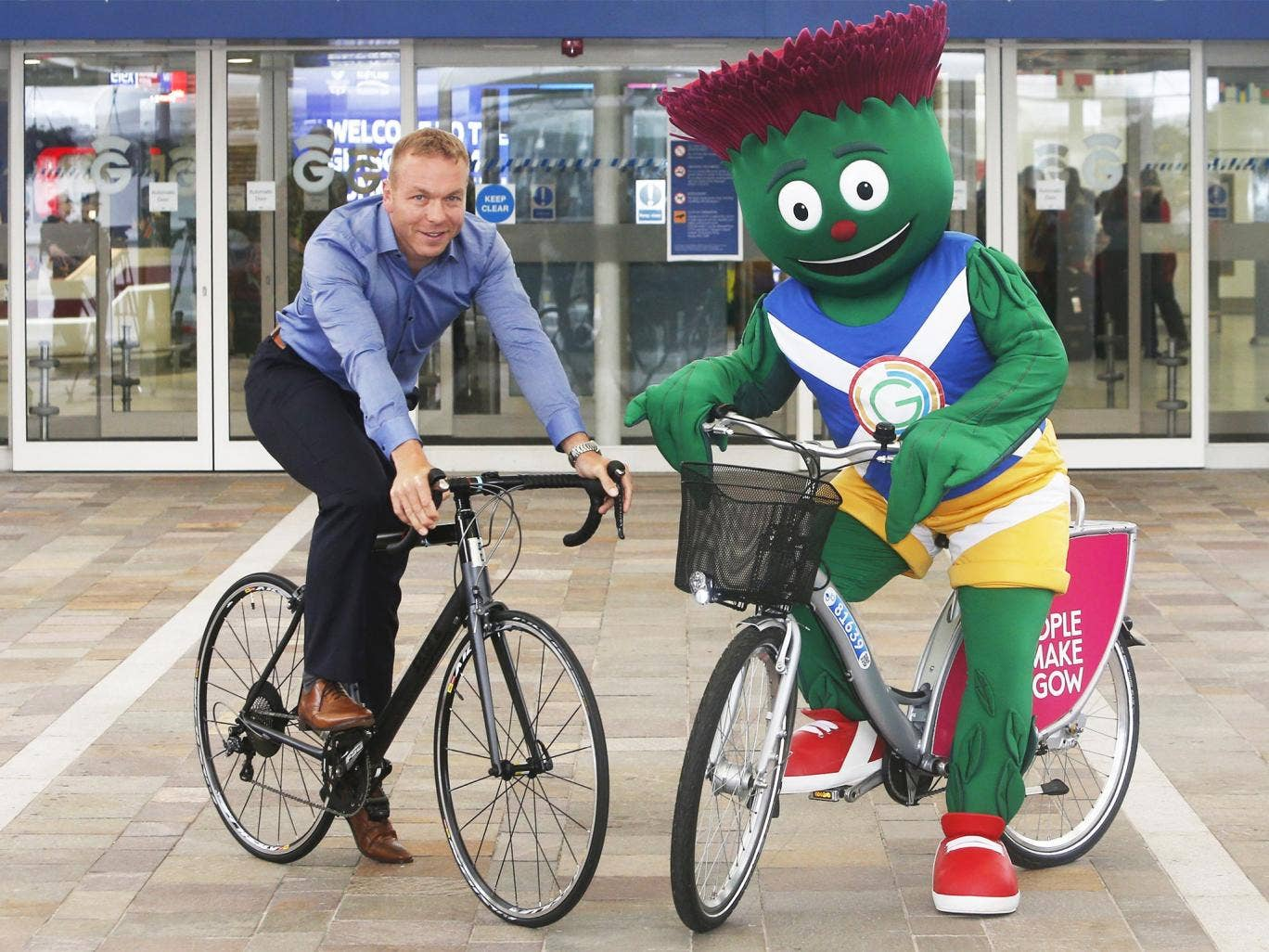 Sir Chris Hoy and Clyde the Games mascot