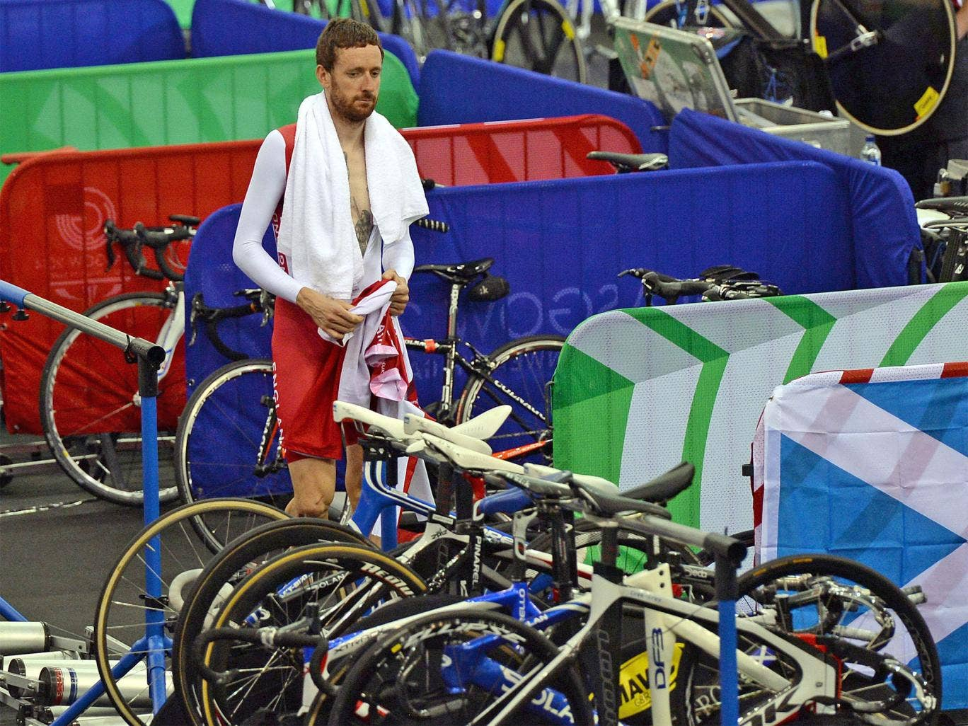 Sir Bradley Wiggins in contemplative mood during training this week