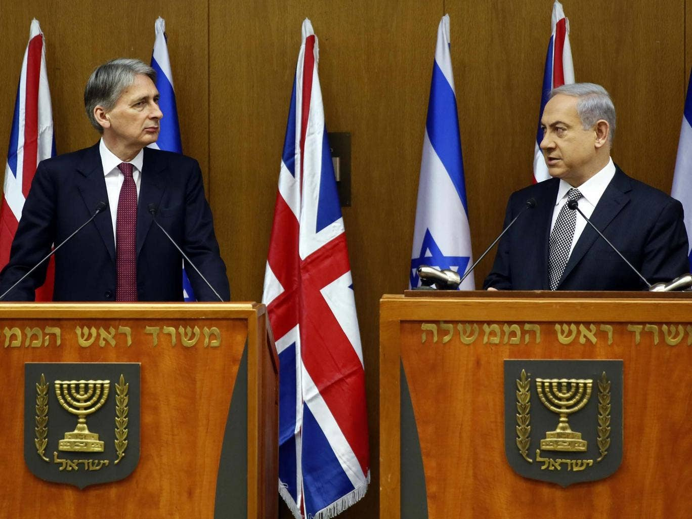 Benjamin Netanyahu (right) and Philip Hammond at the press conference in Jerusalem yesterday