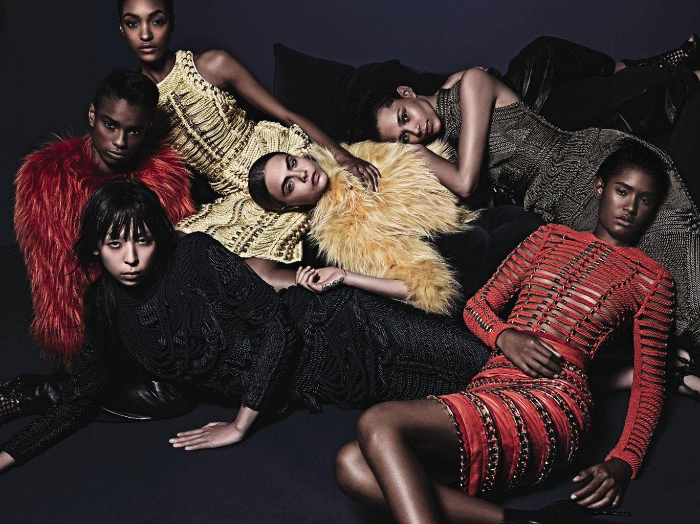 Balmain's autumn/winter 2014 campaign, shot by Mario Sorrenti and featuring Binx Walton, Cara Delevingne, Jourdan Dunn, Ysaunny Brito, Issa Lish and Kayla Scott