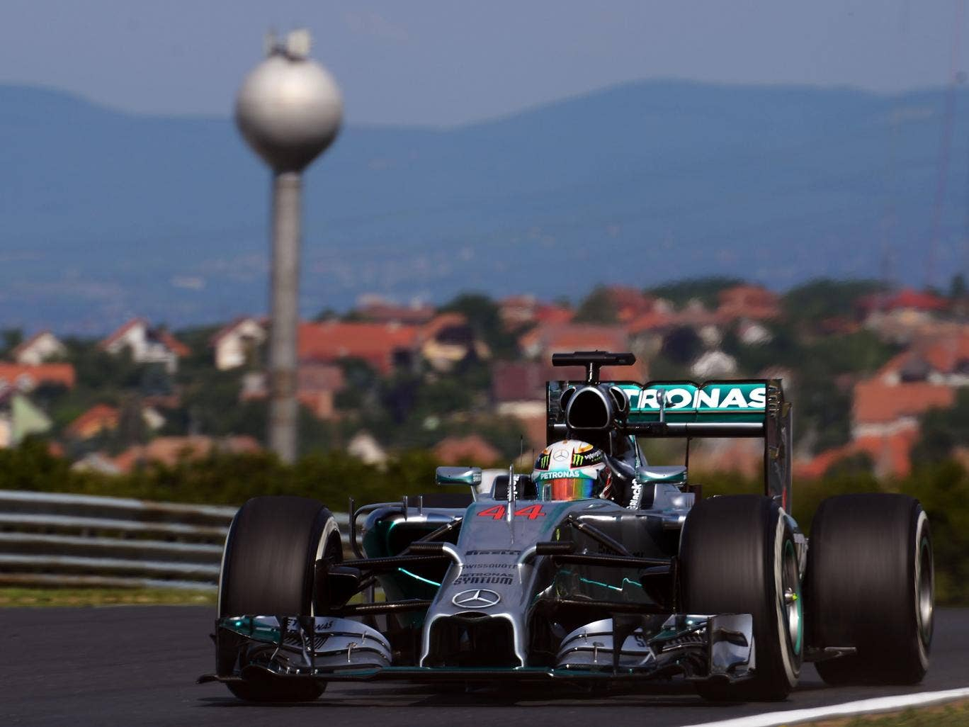 Lewis Hamilton of Great Britain and Mercedes GP drives during practice ahead of the Hungarian Formula One Grand Prix at Hungaroring
