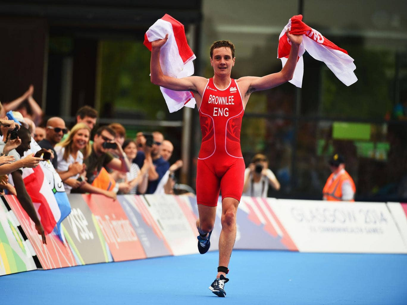 Alistair Brownlee approaches the finishing line to win the mixed triathlon for England