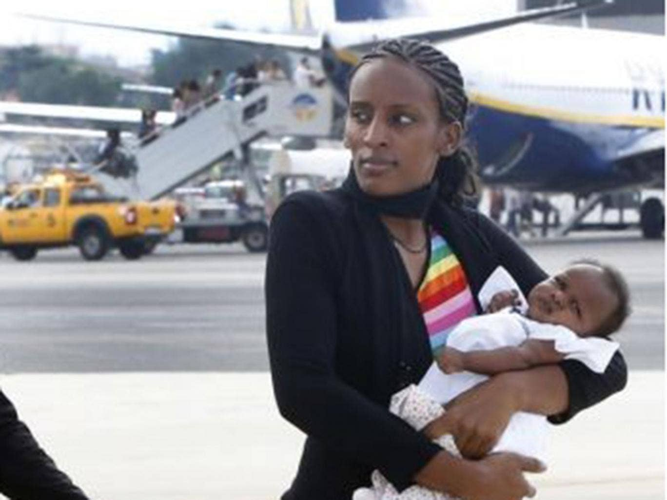 Meriam landing in Italy after finally being freed