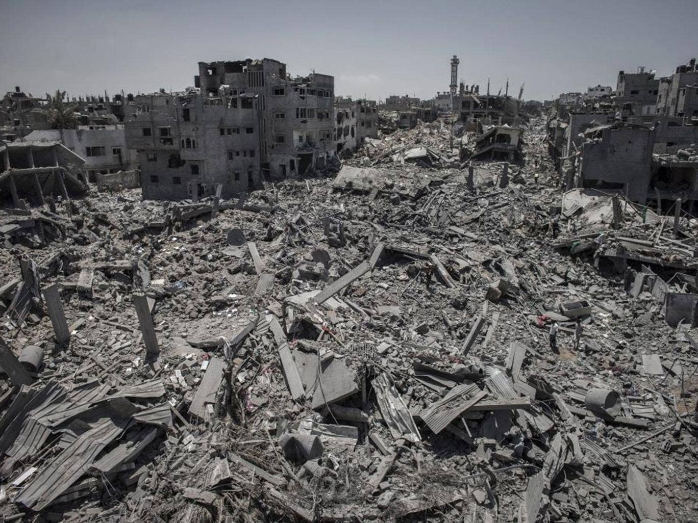 A general view of destroyed buildings after Israeli attacks in a part of the Shuja'iyya neighbourhood in east Gaza City