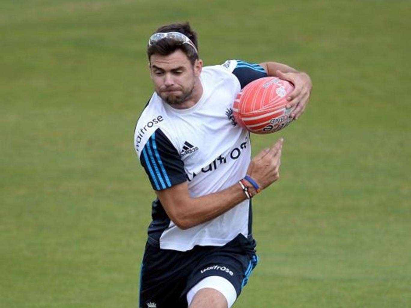 Argy bargy: Anderson relaxes ahead of the Third Test with a spot of rugby