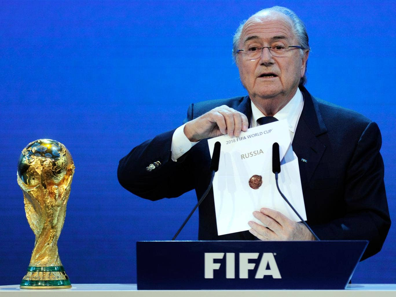 Sepp Blatter reveals Russia as the hosts of the 2018 tournament