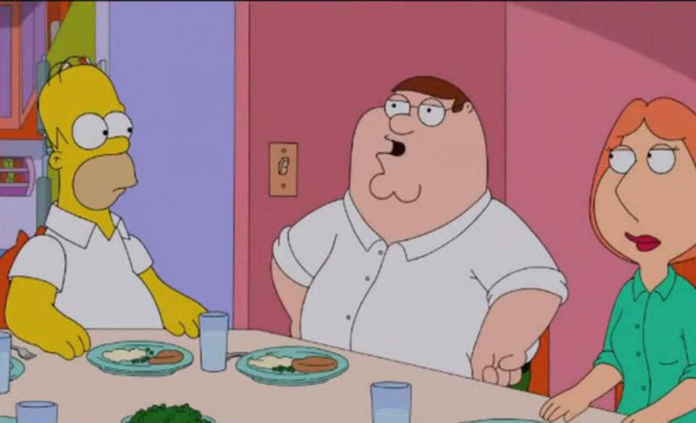 Peter Griffin holds forth in The Simpsons Family Guy crossover episode