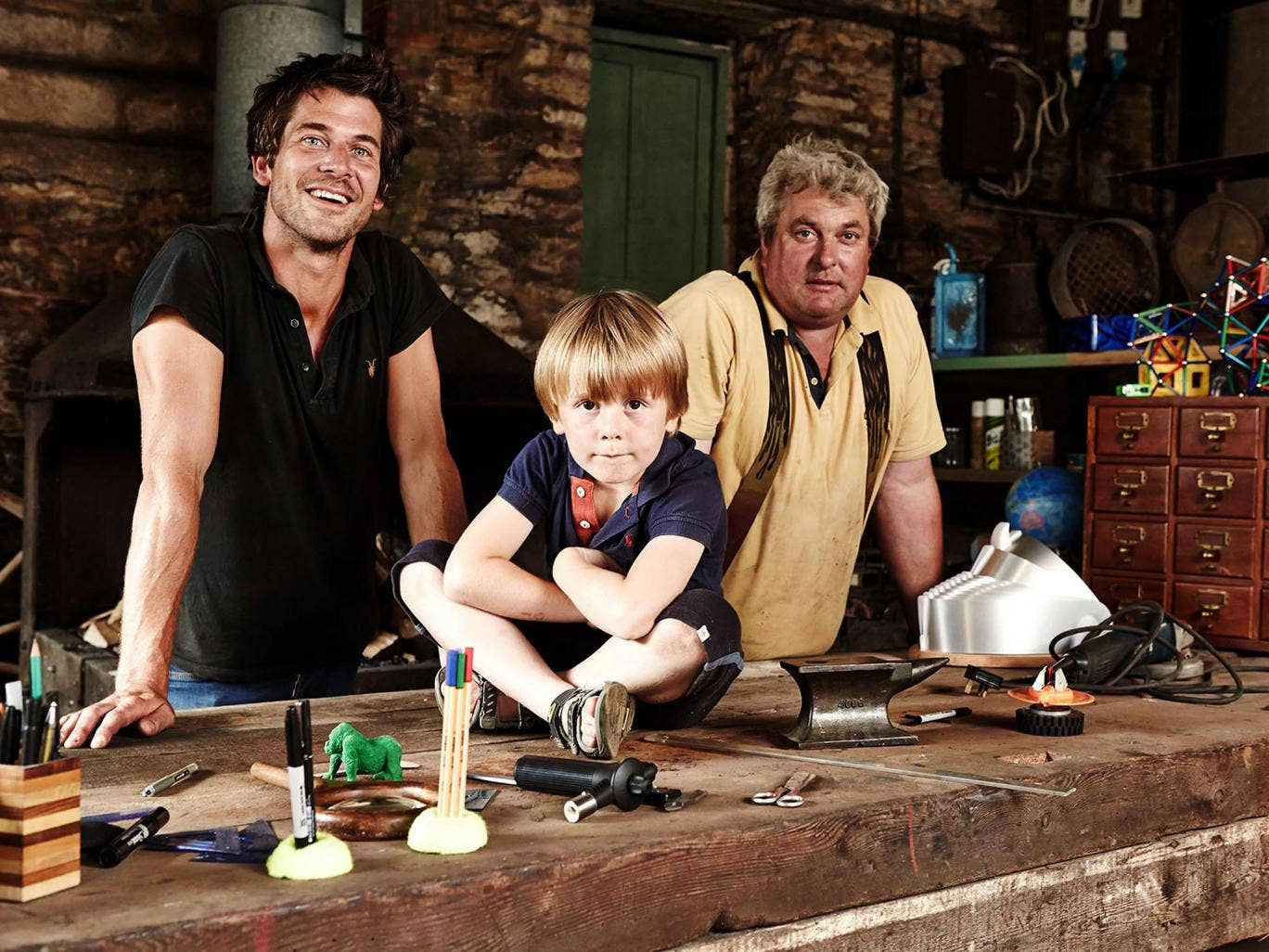 Making waves: inventor Tom Lawton and his son, Barney, with project manager Hadrian Spooner