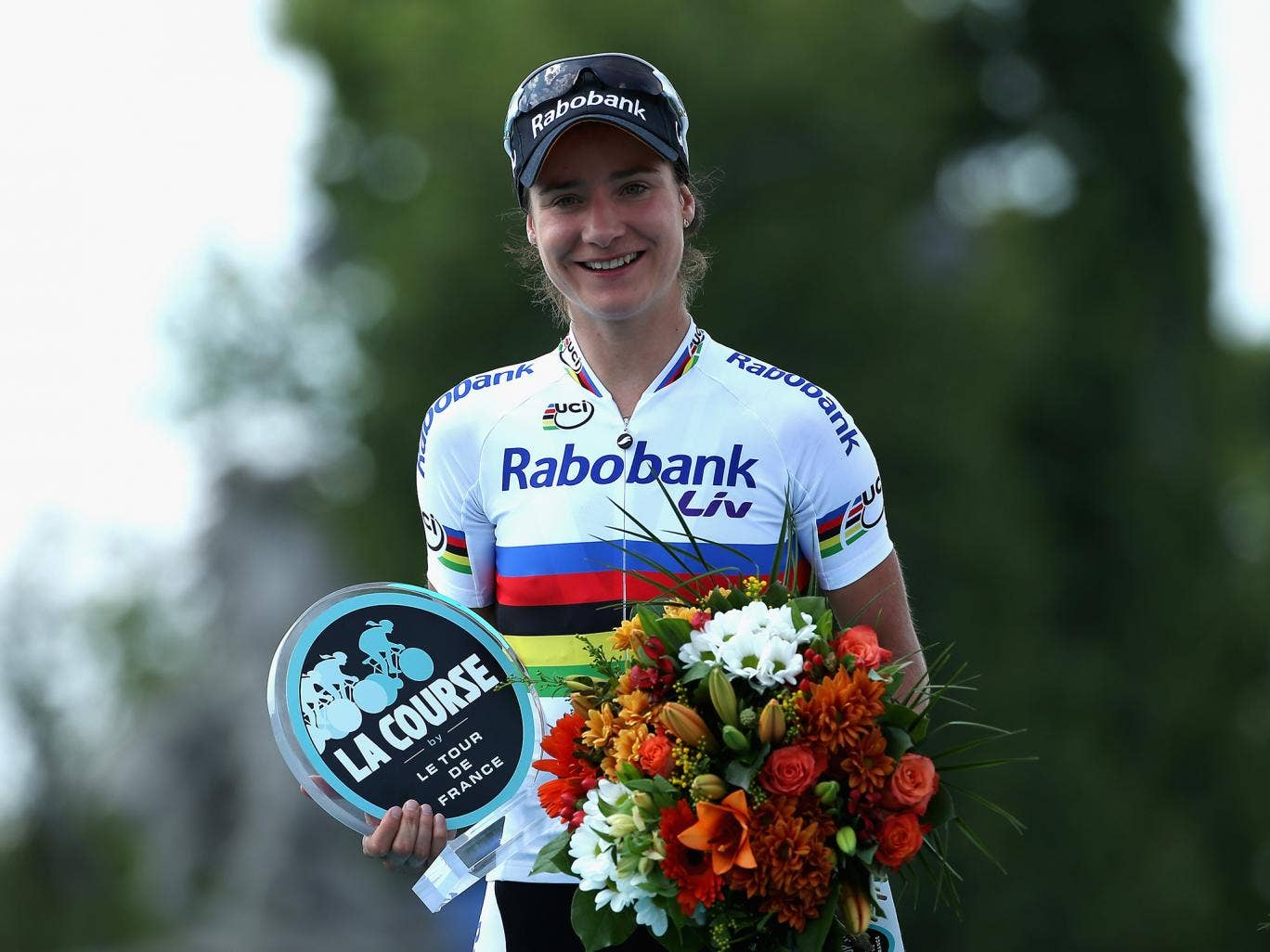 Marianne Vos of the Netherlands celebrates winning La Course