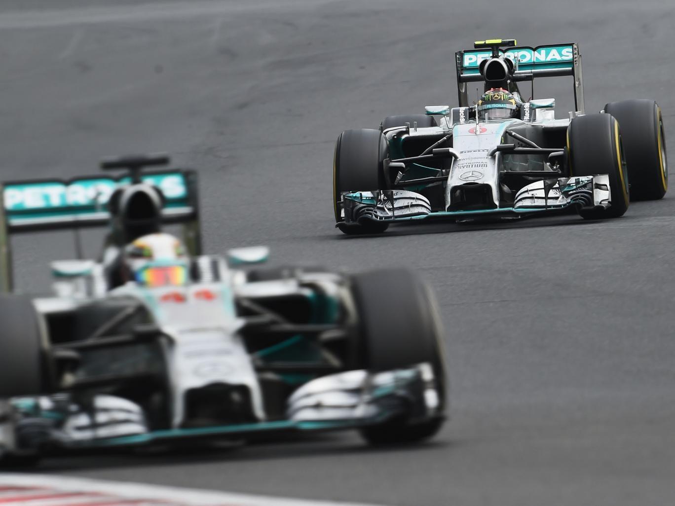 Lewis Hamilton pictured ahead of Nico Rosberg