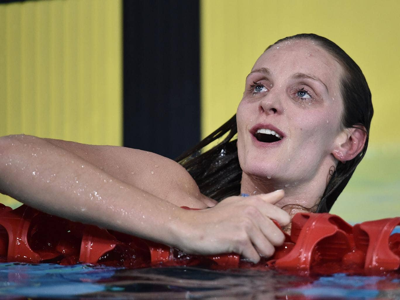 Fran Halsall looks delighted after her superb win in the 50m sprint