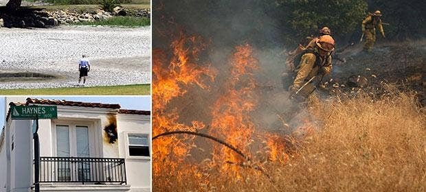 Drought, wildfires and lightning strikes have caused chaos in California in the past few days