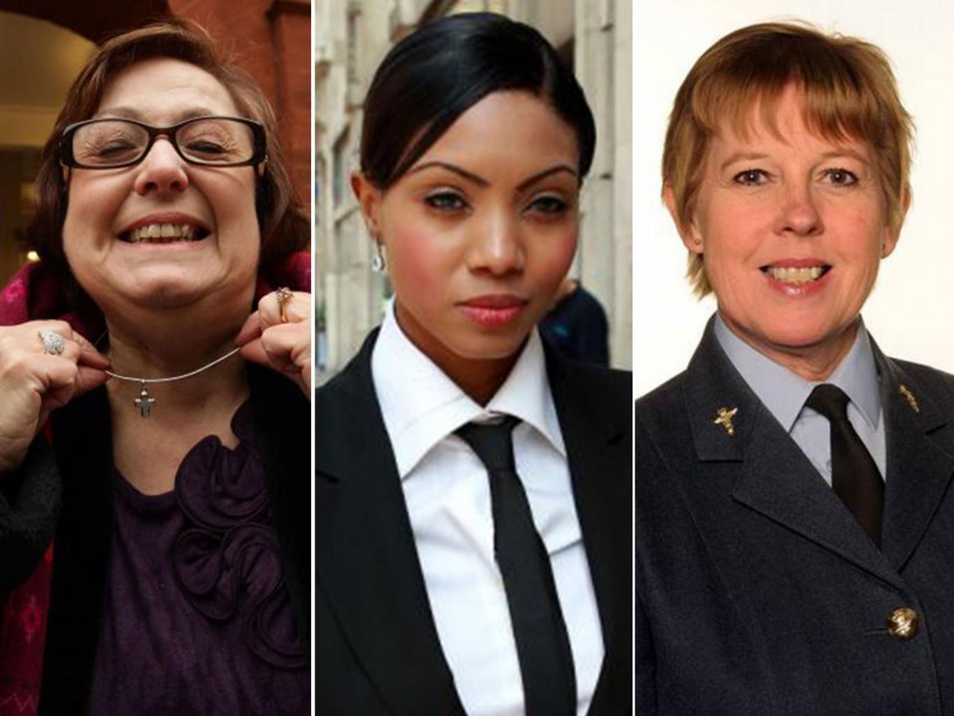 From left to right: Nadia Eweida, Carol Howard, Wendy Williams