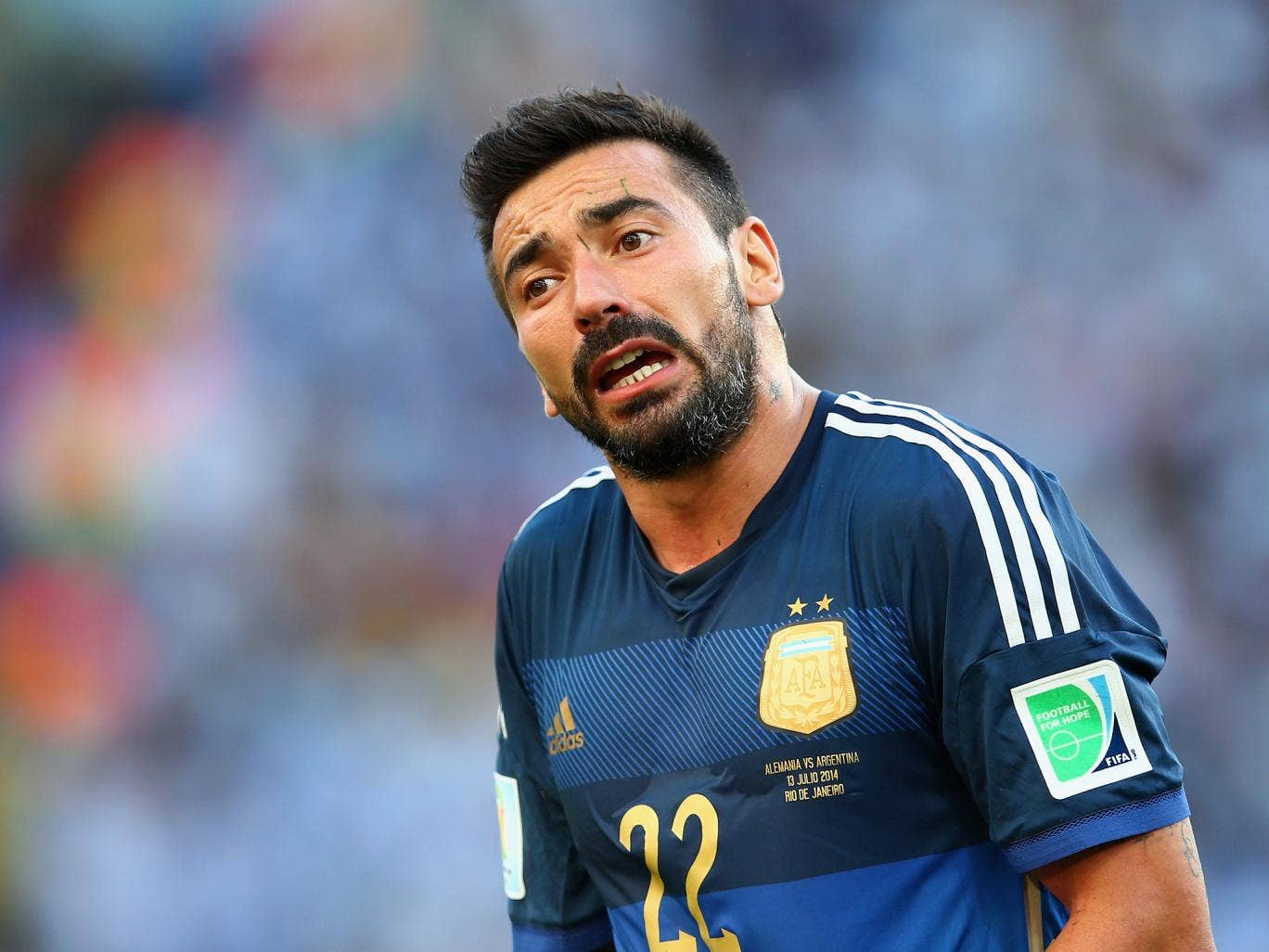 Ezequiel Lavezzi pictured during the 2014 World Cup final