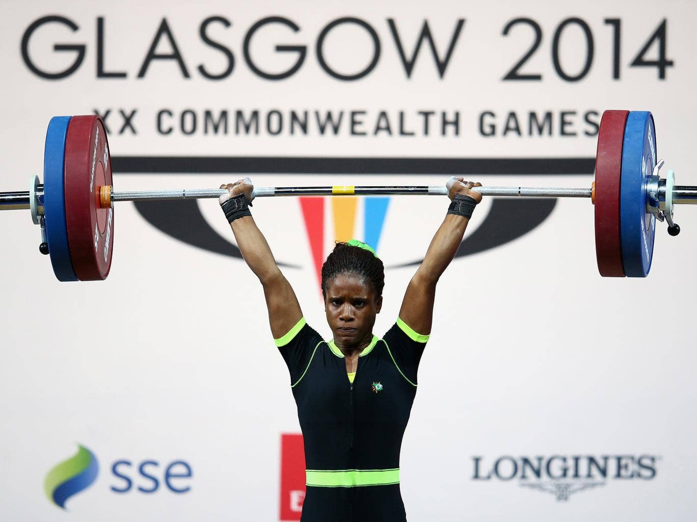 Chika Amalaha competing at the Glasgow games