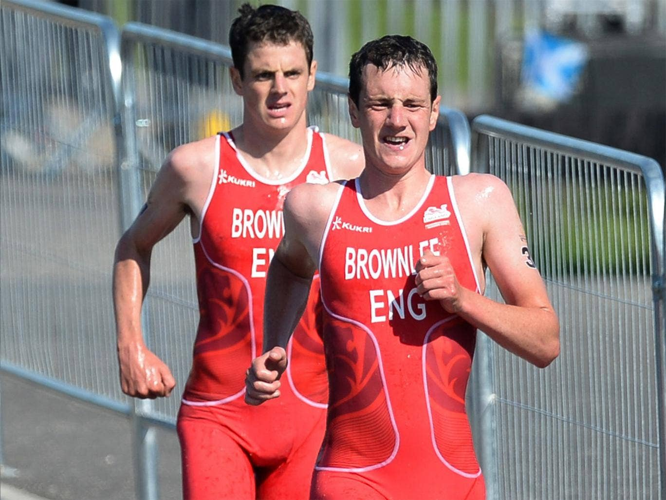 Alistair and Jonathan Brownlee on their way to winning medals in the mens triathlon