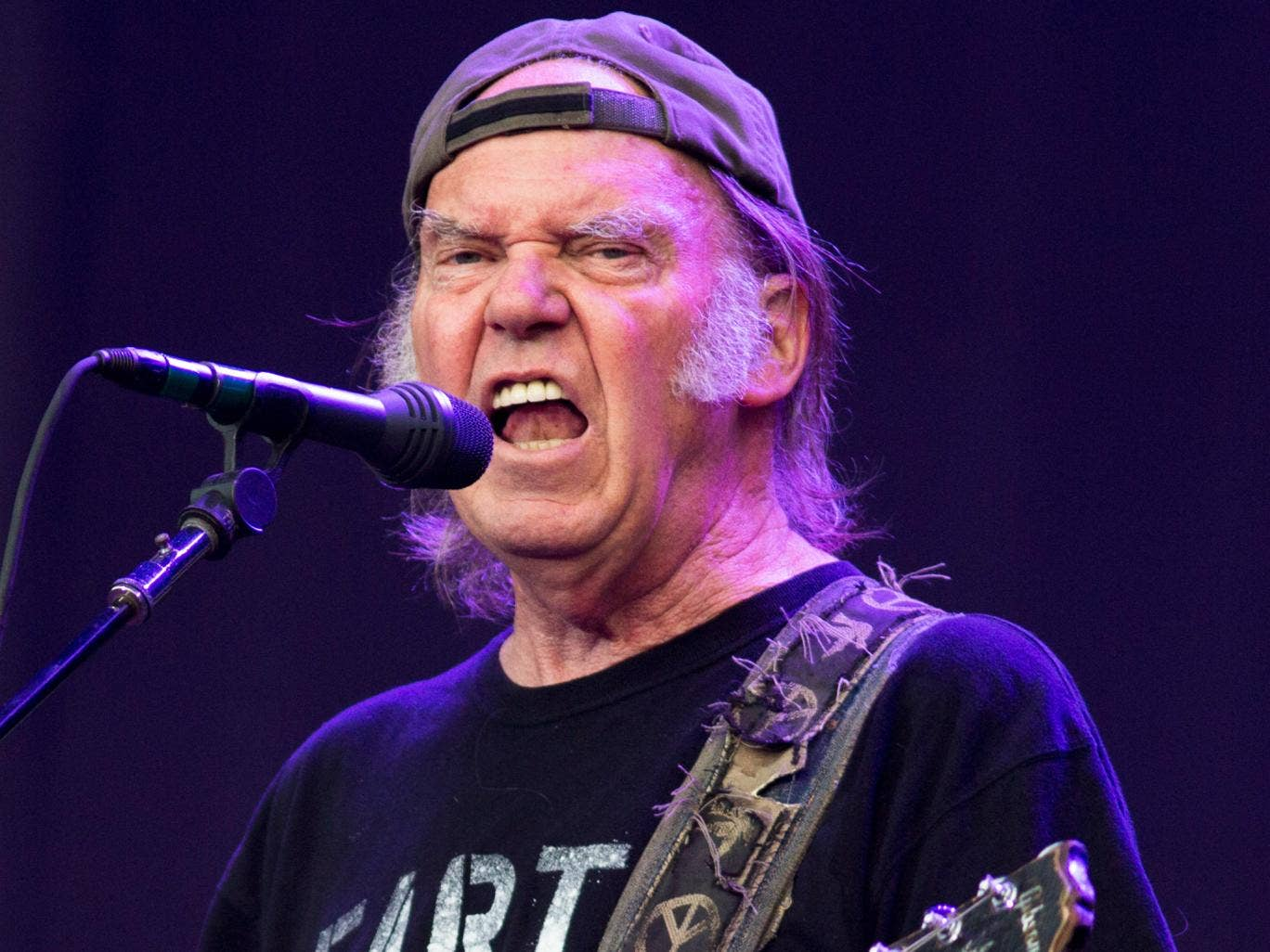 Neil Young performing at Hyde Park, London, earlier this month