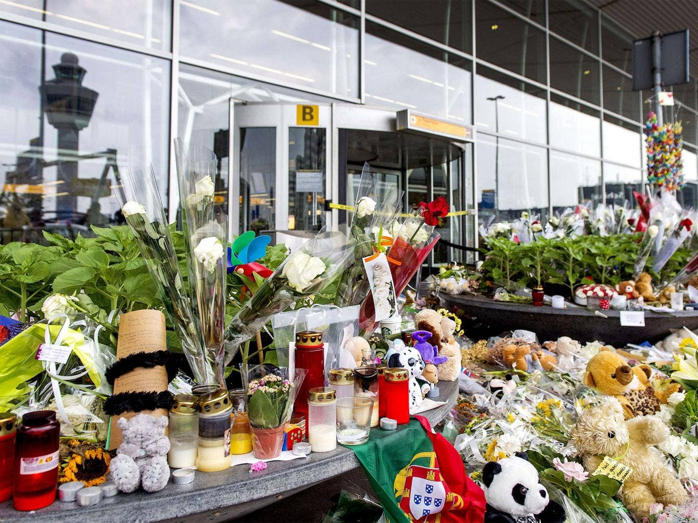 Flowers for the victims of flight MH17 at Schiphol Airport, near Amsterdam
