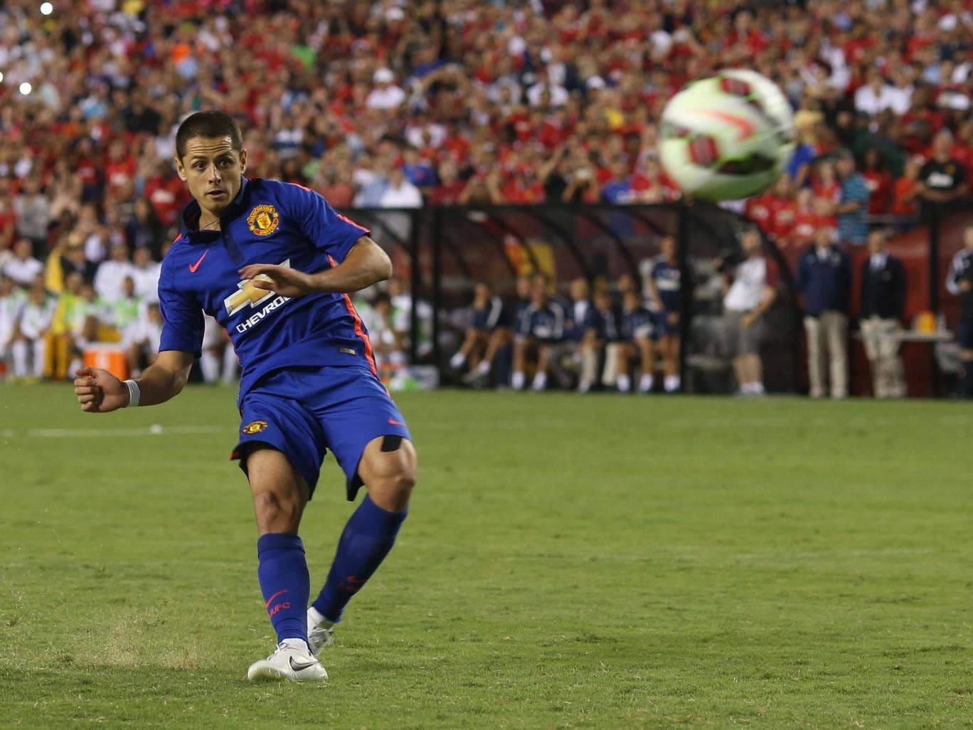 Javier Hernandez in action for Manchester United during pre-season