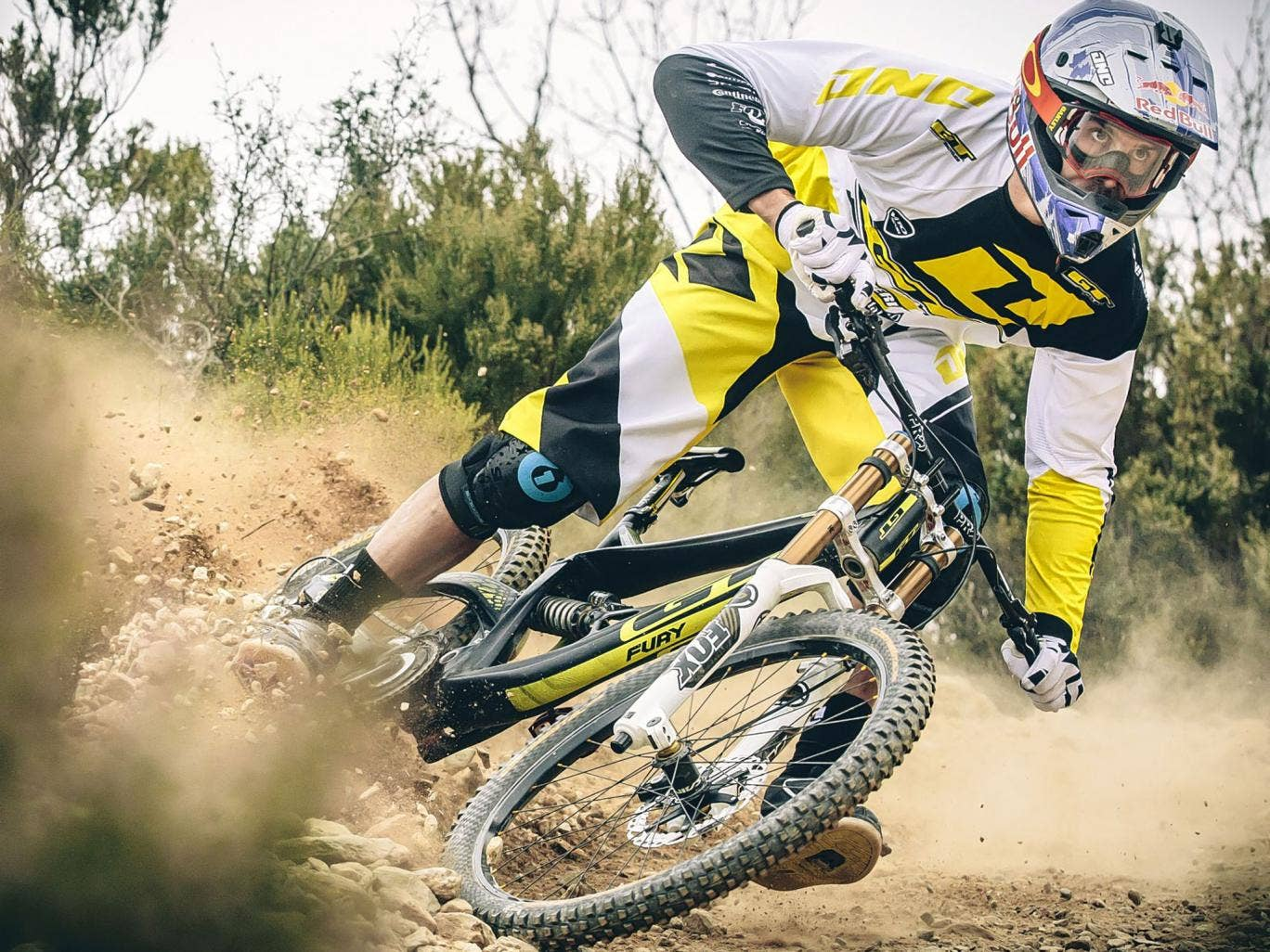 Gee Atherton, a one-time world champion downhill mountain biker, in action