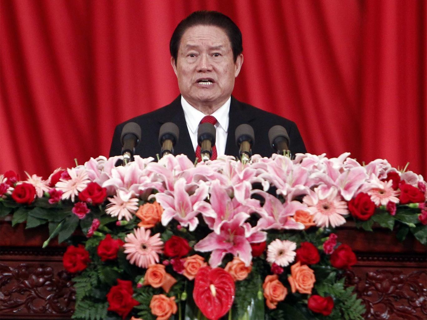 Zhou Yongkang making a speech in Beijing in 2012, when he was still a Politburo standing committee member